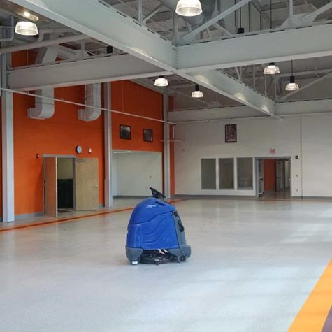 Before Photo Of An Office Building Floor In Need Of Cleaning And Polishing.
